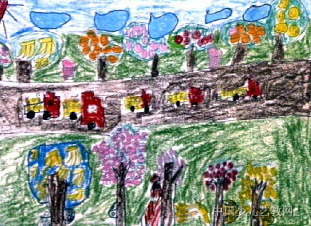 丰收的果园儿童画2幅