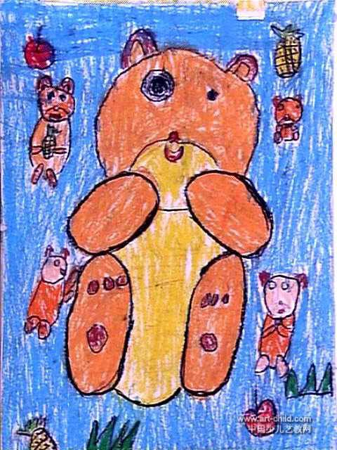 我的可爱玩具熊儿童画属于油画棒画,作品长640px,宽480px,作者李豪,男,5.5岁,就读河南省南阳市宛城区电业局幼儿园。
