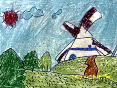 田野风车儿童画,此幅油画棒画大小为338x450像素