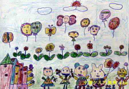 春节的早晨儿童画,这幅中国画作品长311px