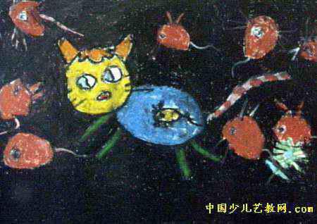 开心的小猫儿童画属于油画棒画,长318px,宽450px,作者曹怡雪,女,4岁
