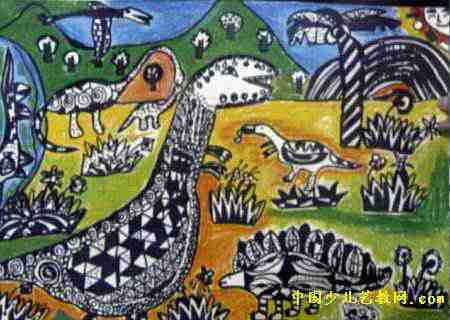 恐龙一家儿童画属于油画棒画