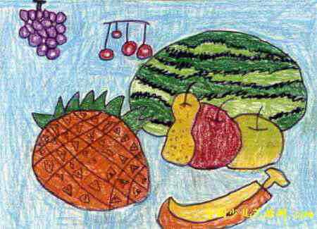 秋天的水果油画棒儿童画