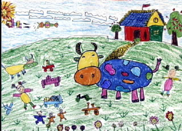 花牛牛儿童画图片
