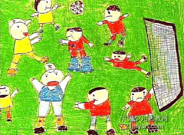 踢足球儿童画13幅(第2张)