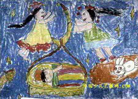长娥的简笔画-我梦见常娥姐姐了儿童画属于油画棒画,长323px,宽450px,作者王