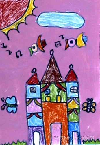 漂亮的房子儿童画4幅 第3张图片
