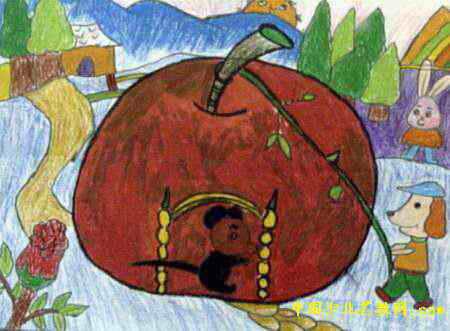 美丽的苹果屋儿童画