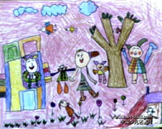 我和老师在一起儿童画作品欣赏