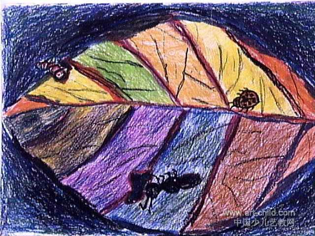 大树叶儿童画,此幅油画棒画尺寸为480x640像素,作者刘勇壮,来自南阳