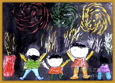儿童画 西峡县/夜晚的焰火儿童画属于油画棒画,长324px,宽450px,作者刘...