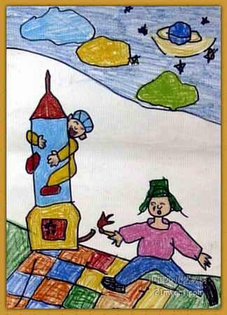 火箭的画法儿童画图片_儿童画火箭的画法