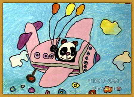 熊猫上飞机儿童画