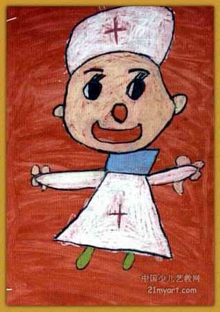护士简笔画-我想当小护士儿童画