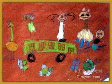 小动物去旅行儿童画2幅