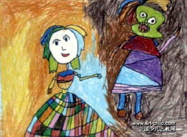 美人与怪兽儿童画图片