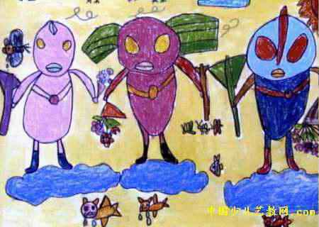 胜利的奥特曼战士儿童画