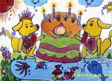 诱人 儿童画/诱人的生日礼物儿童画属于油画棒画,长325px,宽450px,作者...