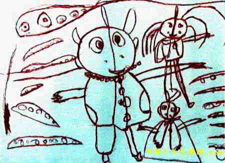 奥特曼战士儿童画2幅