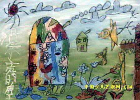 漂亮的房子儿童画4幅图片