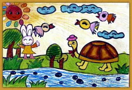 谢谢你小乌龟 我再也不骄傲了 儿童画