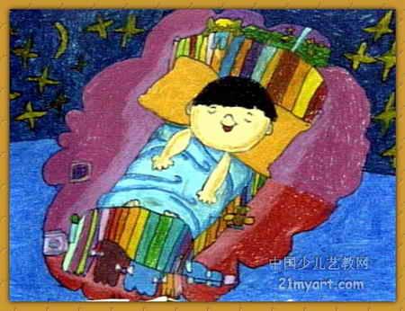 儿童画 李嘉颖/夜晚儿童画属于油画棒画,长346px,宽450px,作者李嘉颖,女...