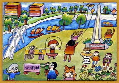 美丽的家乡儿童画