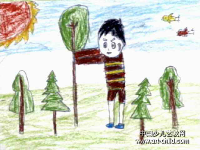简笔画 儿童画 儿童油画棒画 >> 我和小树比高低儿童画2幅   我和小树