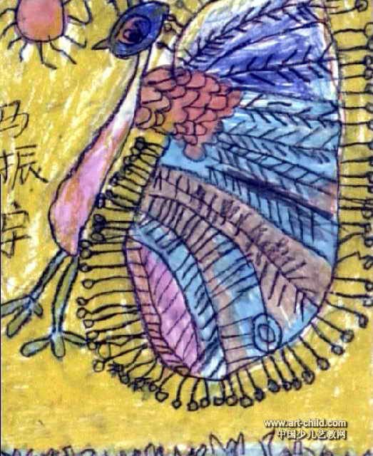 花孔雀油画棒儿童画