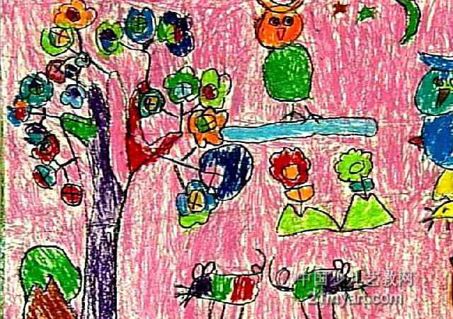 会开花的树儿童画属于油画棒画,作品长451px,宽640px,作者王垚,女,5岁