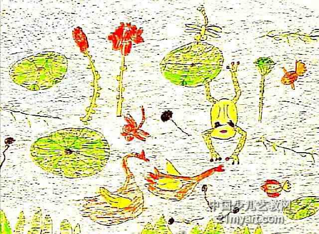 夏天的图画简笔画-夏季荷塘儿童画作品欣赏图片