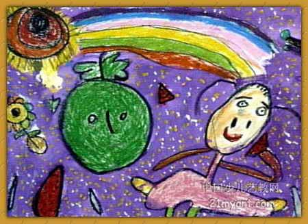 我爱西瓜儿童画