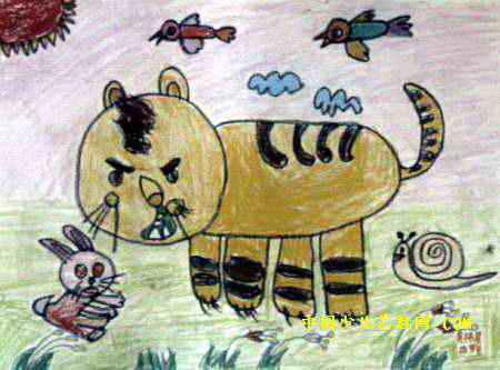 厉害的小老虎儿童画