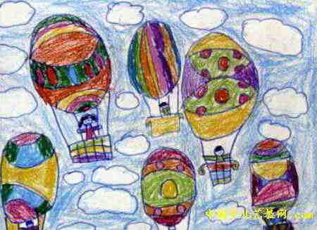 热气球儿童画