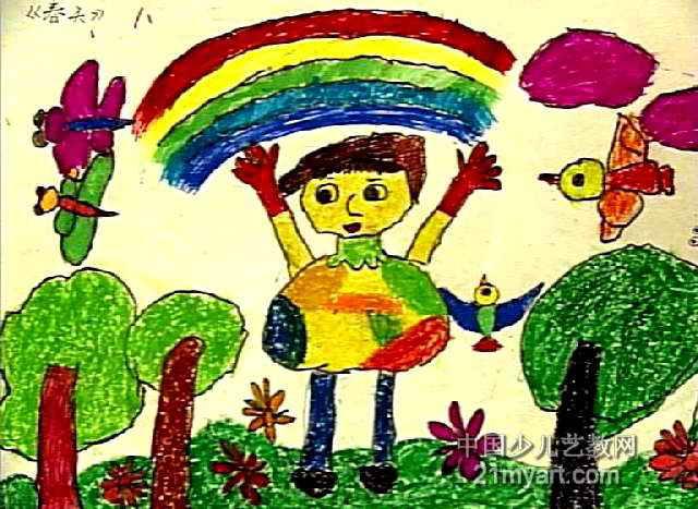春天儿童画,这幅油画棒画作品长467px