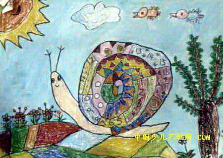 旅行的蜗牛儿童画