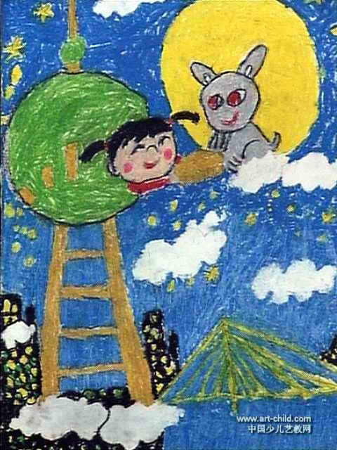 我给月兔送月饼儿童画作品欣赏