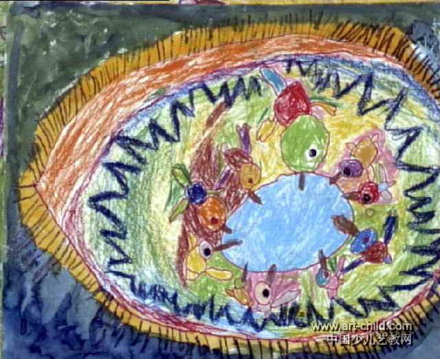 水汪汪的眼珠水池儿童画作品欣赏