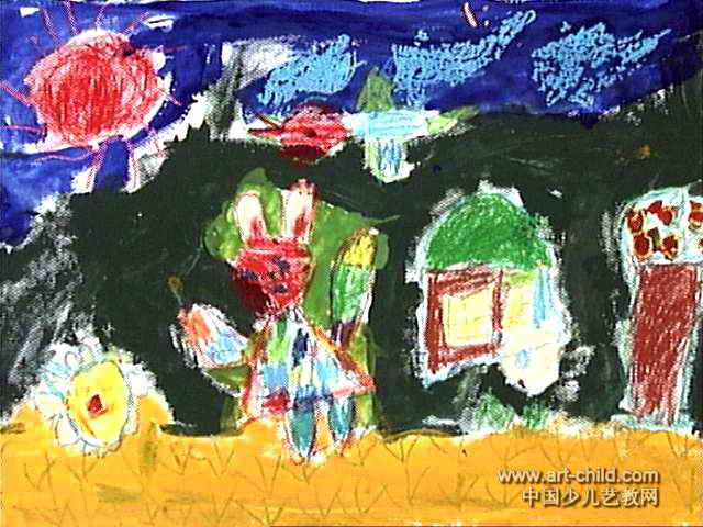 简笔画 儿童画 儿童油画棒画 >> 小兔的家园儿童画作品欣赏   小兔的
