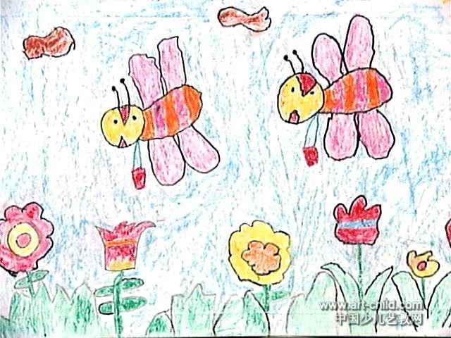 小蜜蜂采蜜忙儿童画2幅图片