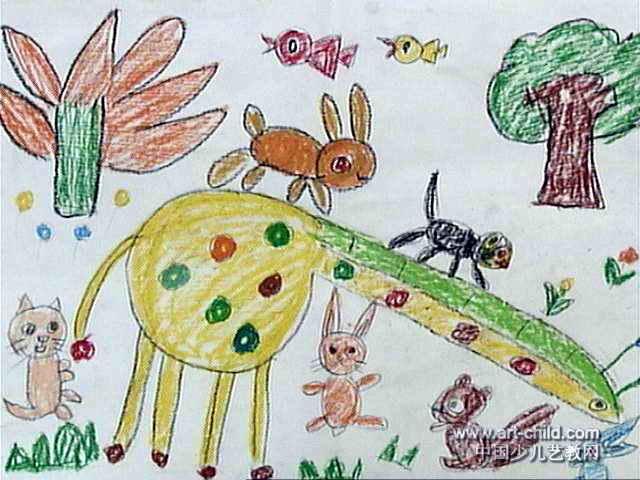 动物滑梯儿童画图片