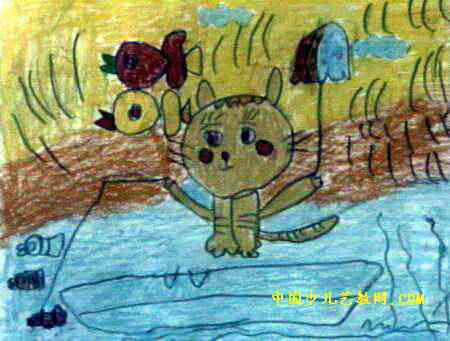 小花猫钓鱼儿童画