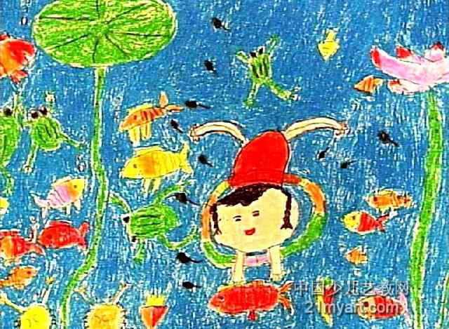 水底世界油画棒儿童画属于油画棒画,长469px,宽640px,作者马靓明,女,6岁,来自河南南阳油田双河社区中心幼儿园。