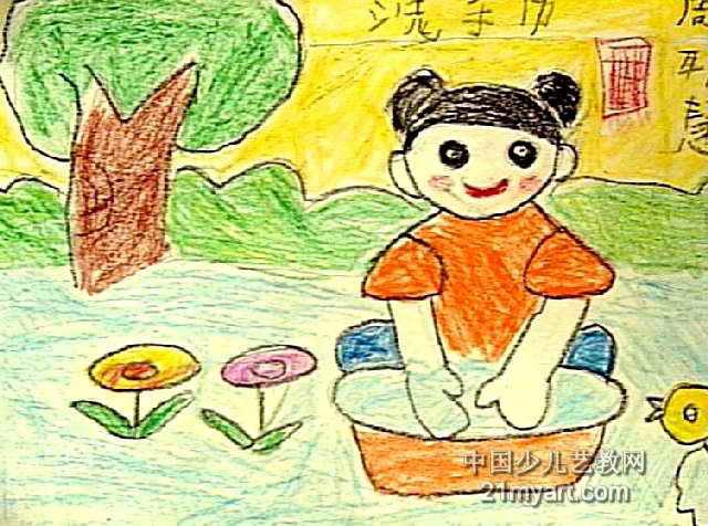 洗手绢儿童画作品欣赏