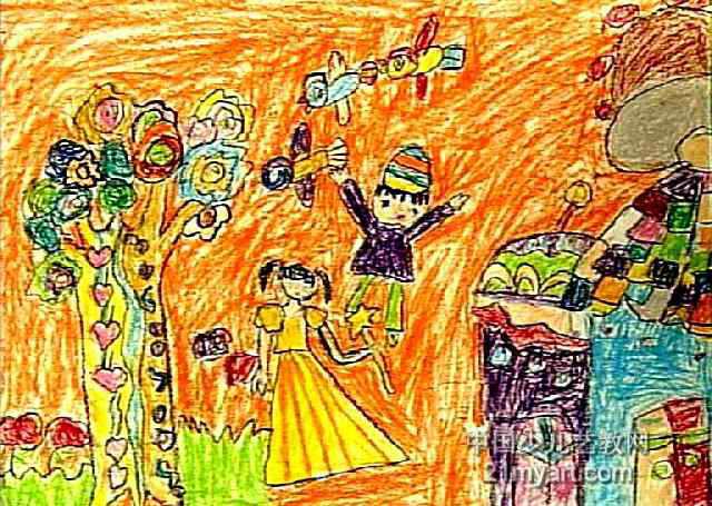 可爱的家乡儿童画5幅(第3张)