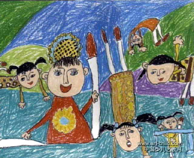 弯弯的月亮儿童画