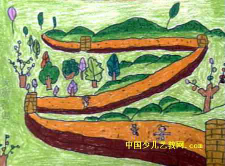 我爱祖国油画棒儿童画