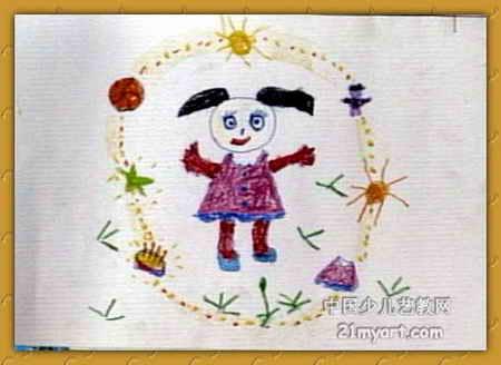 儿童画 郑若童/梦中的生日儿童画,此幅油画棒画尺寸为328x450像素,作者郑...