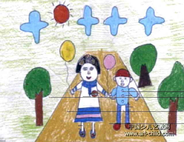 我和老师上公园儿童画作品欣赏