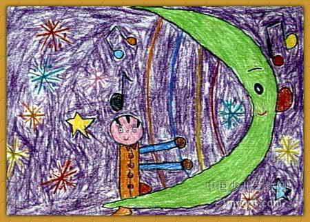 月亮油画棒儿童画